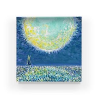 月下の花畑 Acrylic Block