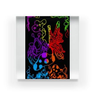 芋虫と蝶々 Acrylic Block