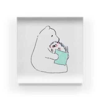 浅山しおん(ハリネズミのソフィー)のオリジナル ハリネズミのソフィー、シロクマに本を読んでもらう。 Acrylic Block