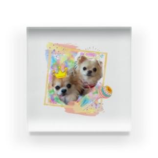 絵画風のチビちゃんとココちゃん Acrylic Block
