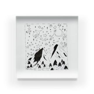 手書き 魔法の山 Acrylic Block