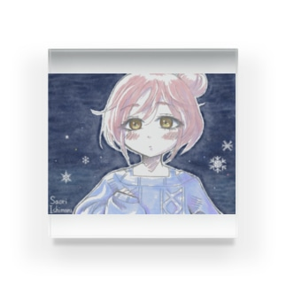 ゆるふわお団子ヘア少女と雪と Acrylic Block