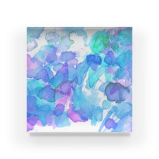 あじさい色 透明水彩 Acrylic Block