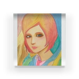 美人 カラフル Acrylic Block