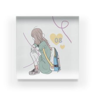カラフルな女の子 Acrylic Block