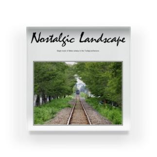 ノスタルジック ランドスケープの走り去る蒸気機関車 C11325 Acrylic Block