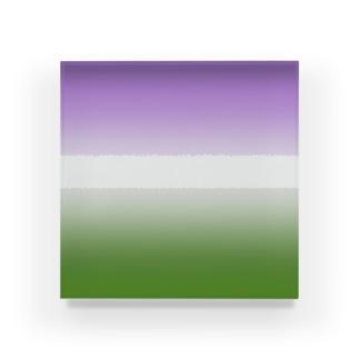 グラデーション プライドフラッグ ジェンダークィア Acrylic Block