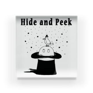 Hide and Peek 帽子の中 Acrylic Block