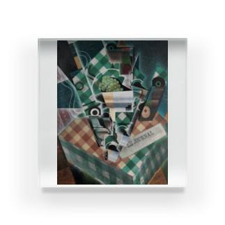 世界の絵画アートグッズのフアン・グリス 《チェックのテーブルクロスのある静物》 Acrylic Block