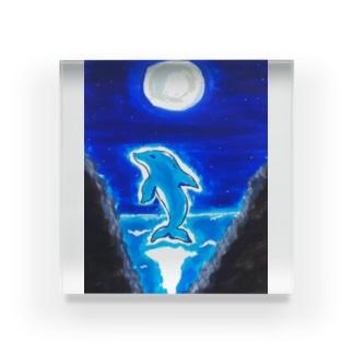 満月とイルカ Acrylic Block