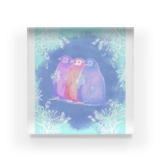 ペンギンとお花 Acrylic Block