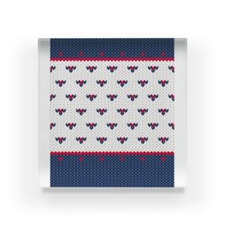 DZ101 小さなハート編み物風*紺と赤 Acrylic Block