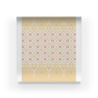 DZ102 編み物風ドットイラスト*おはなばたけ Acrylic Block