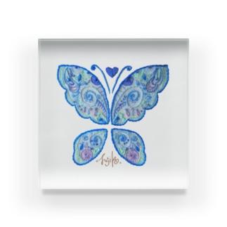 蝶々刺繍 ✺ icey blue Acrylic Block