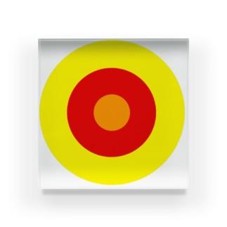 サークルa・黄・赤・オレンジ4 Acrylic Block