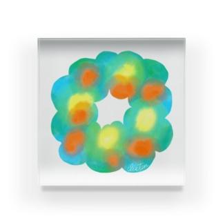 Listen !  Flower wreathe1 Acrylic Block