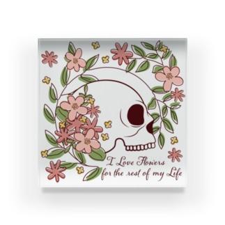 I Love Flowers Forever Acrylic Block