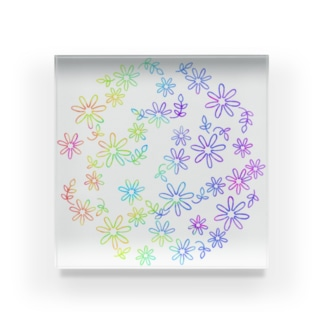 Colorful flower Acrylic Block