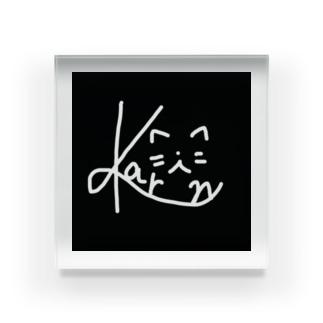 かりんロゴ 猫 白黒 Acrylic Block