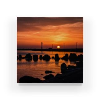 夕日が沈む港 Acrylic Block