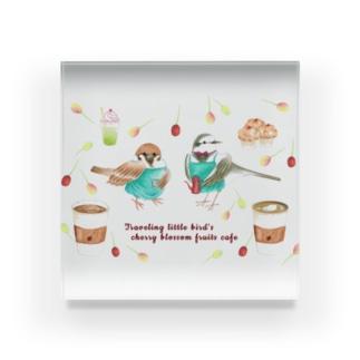 旅する小鳥の桜の実カフェ Acrylic Block