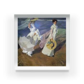 世界の絵画アートグッズのホアキン・ソローリャ《海辺の散歩》 Acrylic Block
