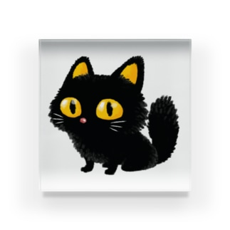 黒猫と見つめ合った夜 Acrylic Block