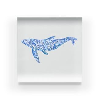 Whale In The Sea Animal(青) Acrylic Block