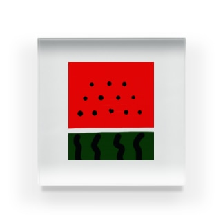 スイカ❤ハートのたね Acrylic Block