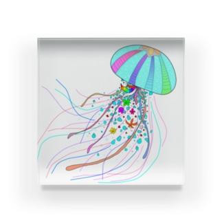 Colorfulジェリーフィッシュ Acrylic Block