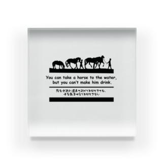 馬イラスト509 馬を水辺に 黒 Acrylic Block
