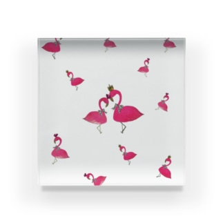 flamingo PINK LOVE Acrylic Block