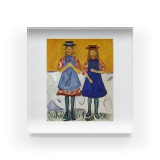 エドヴァルド・ムンク《青いエプロンの2人の少女》 Acrylic Block