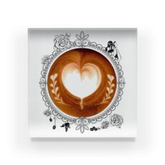【Lady's sweet coffee】ラテアート メッセージハート / With accessories Acrylic Block