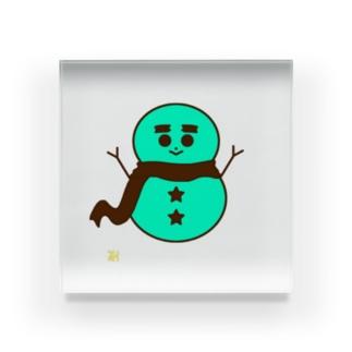 チョコミント色の雪だるま Acrylic Block