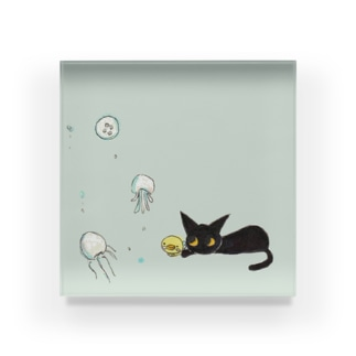 天使のひよこちゃんと黒猫ムーン くらげver. Acrylic Block