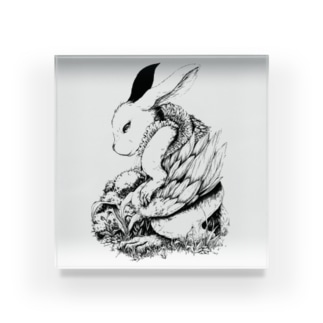 うさぎの幻獣のペン画 Acrylic Block