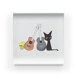 天使のひよこちゃんと黒猫ムーン アコースティック Acrylic Block
