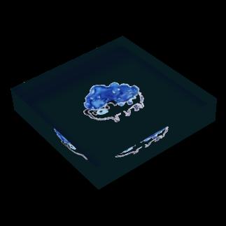 watariのゆるゆる鉱石ねずみ Acrylic Blockの平置き