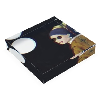 真珠の耳飾りのサングラス少女 -girl with a pearl earring & sunglasses- Acrylic Block