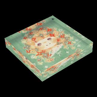 *momochy shop*のお花の女の子 Acrylic Block
