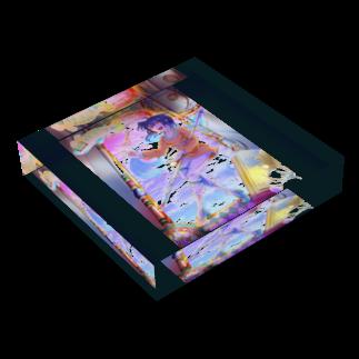 桜さつき と 神楽鈴のミストルァルタ Acrylic Blockの平置き