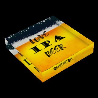 8garage SUZURI SHOPのlove IPA beer ver2 Acrylic Blockの平置き
