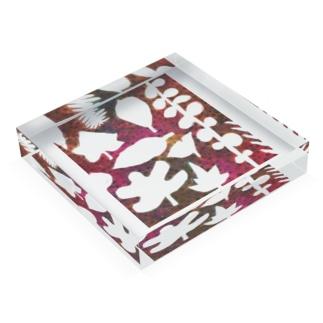 ウラベメグミの落ち葉 Acrylic Blockの平置き