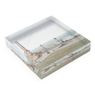 CG絵画:ヴィアナ・ド・カステロの風景画 CG art: Rio Lima / Viana do Castelo Acrylic Block