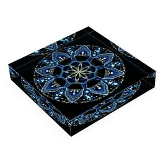 薄氷−点描曼荼羅 Acrylic Block