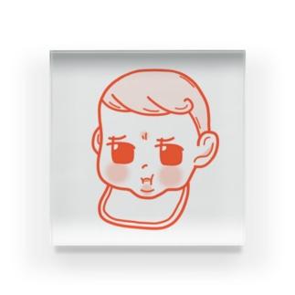 上唇を噛む 赤ちゃん Acrylic Block