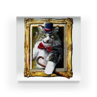 ボールペン画のイラストレーター・白石拓也の吾輩は猫でR Acrylic Block