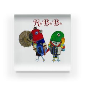 ROBOBOオオハナインコ 「妖子ロボと花太郎ロボ」 Acrylic Block
