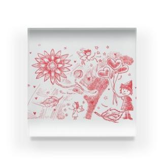 真っ赤な夢の花 Acrylic Block